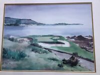 Golf Course Still Life Watercolor painting,Signed B Turner Framed