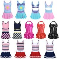 Kids Toddler Girls Swim Dress Striped Swimsuit Swimwear Bathing Suit Beachwear