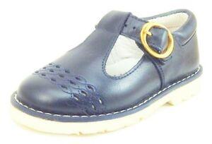 DE OSU-FARO - Girls Navy Blue Leather Dress-School Shoes - European 23 Size 6.5