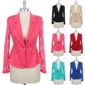 Women's Long Lace Sleeve One Button Blazer Jacket Lace Inset S M L