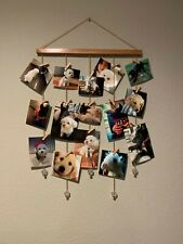 Picture Photo Collage Frame Wall Hanging Display Frames Golden Chain W/ 20 Clips