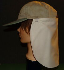 2 CLIP ON Cap Flaps Protect Neck & Ears from Sun, SPF 50 - White & Khaki