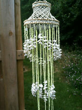 Chandelier Yellow Nassa Sea Shell Hanging Windchime Design in Lime and Ivory
