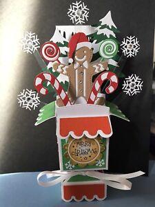 GINGERBREADMAN IN SNOW  -   3D POP UP BOX CHRISTMAS CARD