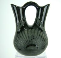 """Southwest Pottery Wedding Vase Black on Black Etched Art Sunburst Signed 8"""""""