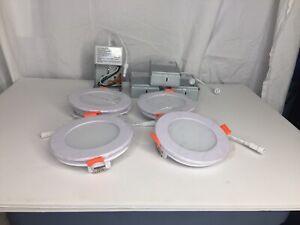 "Lot of 8 Ensenior LED Recessed Ceiling Light 4"" Slim Recessed w/ Junction Box"