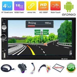 Autoradio Android 8.1 mit GPS Navigation NAVI BLUETOOTH USB Doppel 2DIN + Rahmen