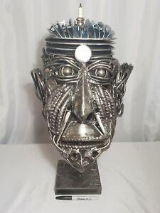 Metal Art Whole Head Sculpture Steam Punk Recycled Welder Assemblage USA