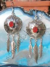 Ohrring Karneol rot Scheibe mit Federn Indianer Stil Sterling Silber 925