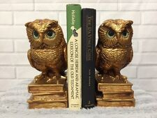 Owl Bookends VINTAGE 1966 Progressive Art Products Gold Bronze Chic Decor