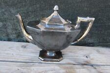 Vintage Big Egyptian Art Deco Teapot Silverplate Wilcox International 7 inch ht