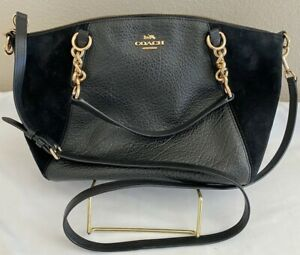 COACH BLACK PEBBLED (PEBBLE) LEATHER  & SUEDE CHAIN CROSSBODY CHAIN STRAP