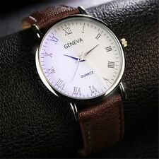 Fashion Mens Steel Quartz Watch Black White Brown Leather Band Analog Wristwatch