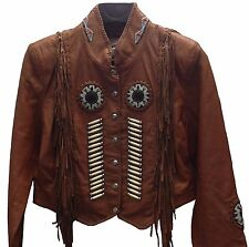 Western World Beaded Fringe & Bone Leather Jacket Cognac Brown Women's Small