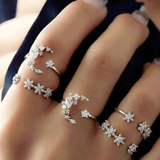 5Pcs/Set Crystal Flower Stack Above Knuckle Ring Midi Finger Rings Set Jewelry