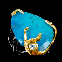 Turquoise Ring Silver 925 Sterling Handmade Size 7 /R130761