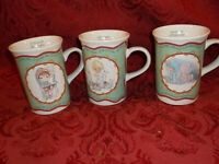 Precious Moments Christmas Song Collectible 1994 Mugs Coffee Cup Set Of 3.. Rare
