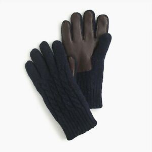 J.Crew Navy Wool Cable-Knit Gloves (Small/Medium)