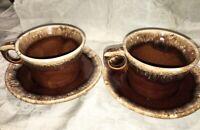 "Vintage HULL USA Brown Drip Glaze 3"" Flat Cups & Saucers (2) Set"