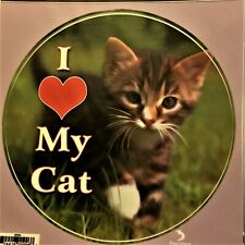 "I (heart) My Cat Indoor/Outdoor Sticker - Approx 5"" x 5"" - Made in Usa"