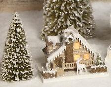 "RUSTIC CHRISTMAS GLITTER CARDBOARD LOG CABIN HOUSE 5 1/2"" LC3574b  Bethany Lowe"