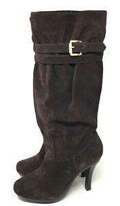Michael Kors Boots Womens Kincade Brown Suede Slouch Platform Heels Buckles 9M