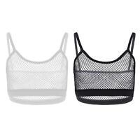 Women's Sheer Mesh Camisole Crop Top See Through Bralette Vest Tank Tops S M L