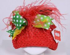 MUD PIE Christmas Hat Infant Baby Toddler Red White Green w/Feathers #12226
