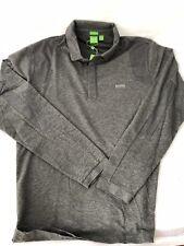 NWT BOSS Hugo Boss Green 'Pleesy 2' Long Sleeve Polo Slim Fit Shirt Gray 3XL