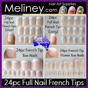24pc French Tips Full Nails Cover Press On Natural Finger Toe False Fake Wedding