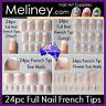 24pc French Tips Full Nails Cover Press On Natural Finger Toe False Fake Wedding