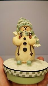YANKEE CANDLE Snowman on Skiis Our America Candle Topper Round Jar Used Boxed