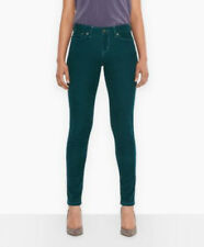 Levis 524 Womans Green SKINNY Too Superlow Thin Corduroy Pants 25 X 30