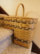 Vintage Wicker Rattan Bamboo Country Stair Step Basket w/ Pine Cone Design