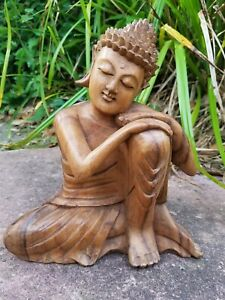 'Relaxing Buddha' Sculpture/Hand Carved/ Solid Wood/Statuette