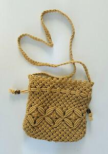 Hand Made Eco-Friendly Beige Macrame Hemp String Knitted Drawstring/Bucket Bag