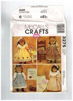 "18"" Doll Sewing Pattern Dresses Nightgown Accessories Uncut McCalls Gotz Uncut"