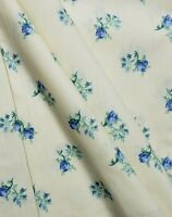 Waverly Cotton Home Decor Fabric Pale Yellow Tossed Cobalt ROSEBUDS BTY