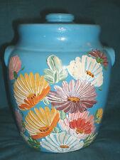 Vintage RANSBURG BLUE Stoneware Pottery Crock COOKIE JAR Hand Painted Flowers