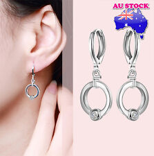 Elegant  925 Sterling Silver Filled  Leverback Earrings with Zircon Crystal