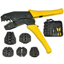 Ratchet Crimper Plier Crimping Cutter Cable Wire Stripper Terminals Kit 8 Jaws