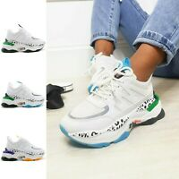 Womens Chunky Lace Up Platform Trainers Sports Running Comfy Ladies Shoes Sizes