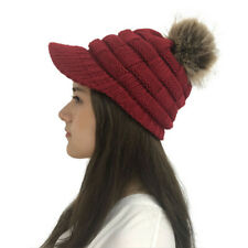 Women's Winter Beanies Solid Knitted With Brim Pompom Ball Winter Skullies