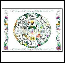 RUOTA DELL'ANNO CARD CALENDARIO Pagano Wicca mano digiuno Pagan Love arte celtica