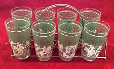 Rare HA 8 Mid Century Arabian Knights Green Jasperware Highball Glasses + Rack
