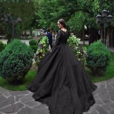Gothic Black Tulle Lace Ball Gown Bridal Wedding Dress Long Sleeve Applique