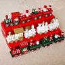 Christmas Wooden Train Cartoon Santa Claus Ornament Home Decor Kids Xmas Gift