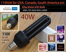 40W UV Ultra Violet Bulb 110V E27 ES Screw Mount Black Light Lamp CFL Save 200W