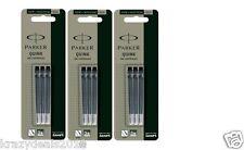 9 x Parker Quink BLACK Ink Cartridge Refill for Fountain Ink Pen Vector Frontier