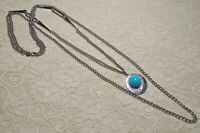 VINTAGE EMMONS FAUX TURQUOISE PENDANT MULTI STRAND SILVER TONE CHAIN NECKLACE